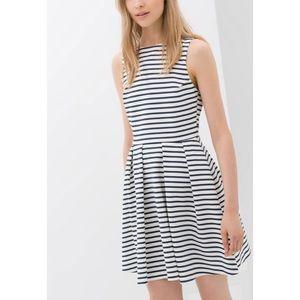 Zara Basic Backless Dress XS Blue White Stripe